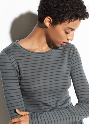 Double Pinstripe Long Sleeve Crew in Mineral Stone/Black
