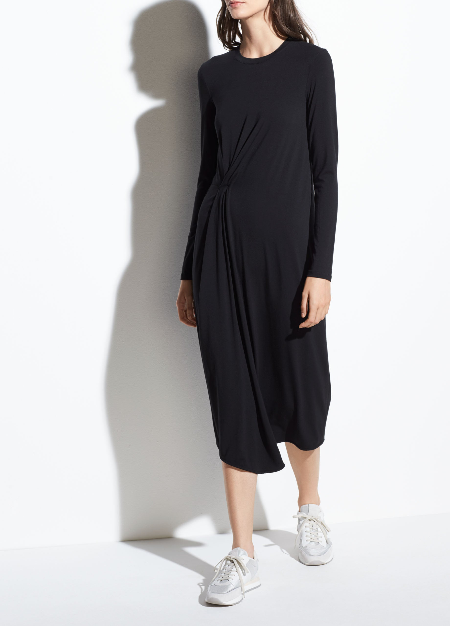 53e9a788805 Vince | Long Sleeve Side Drape Dress in Black | Vince Unfold