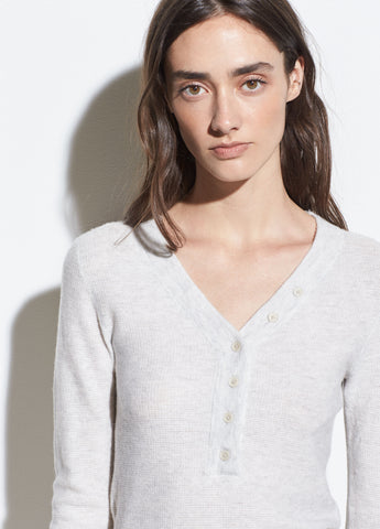 Cashmere-Wool Waffle Henley in Heather Cloud