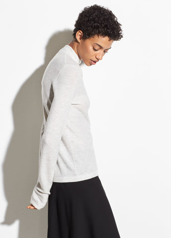 Wool-Cashmere Waffle Mock Neck Sweater in Heather Cloud