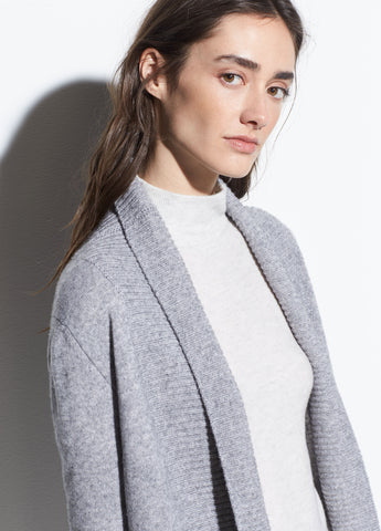 Wool-Cashmere Wide Collar Cardigan in Heather Steel