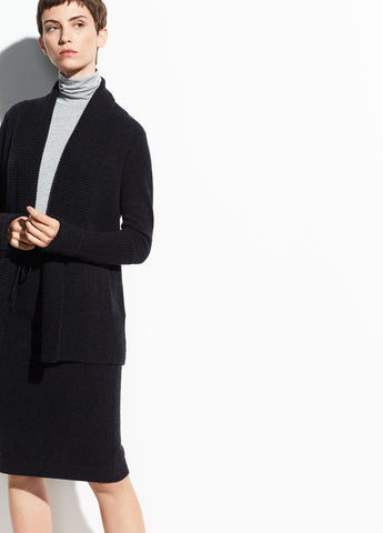 Wool-Cashmere Wide Collar Cardigan in Heather Carbon
