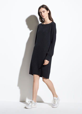 Ribbed Wool-Cashmere Dress in Heather Carbon