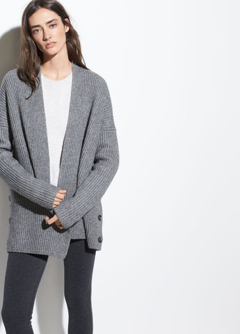 Ribbed Button Cardigan in Medium Grey