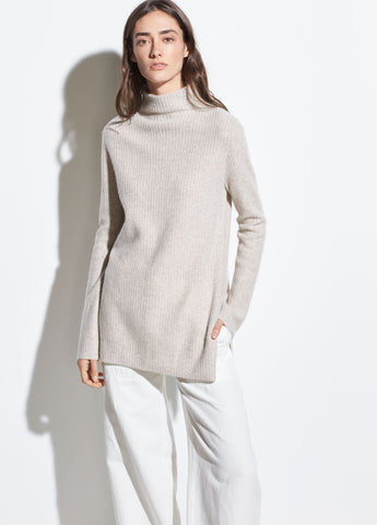 Boiled Cashmere Turtleneck Tunic in Marble