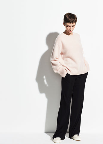 Boxy Boiled Cashmere Crew in Desert Rose