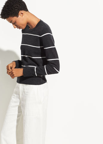 Striped Overlay Cashmere Crew in Heather Charcoal/Off White