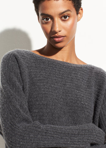 Horizontal Rib Boatneck in Heather Pewter