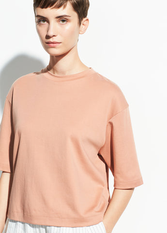 Wide Sleeve Crop Tee in Blush