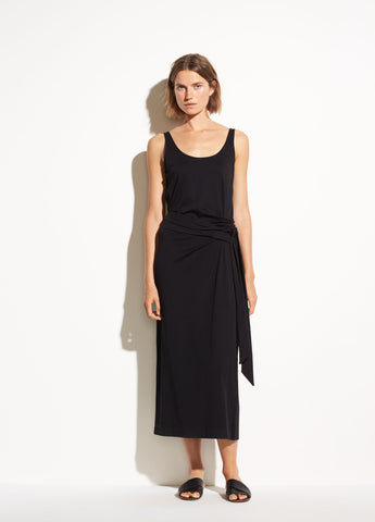 Sleeveless Pima Cotton Wrap Dress in Black