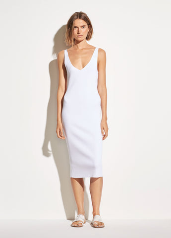 Rib Double V-Neck Dress in Optic White