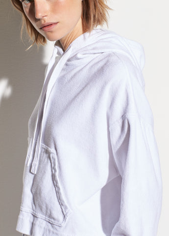Wide Sleeve French Terry Hoodie in Optic White