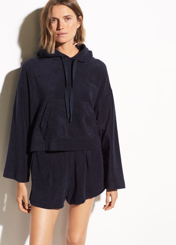 Wide Sleeve French Terry Hoodie in Coastal