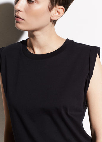Rolled Sleeve Cotton Tank in Black