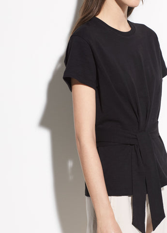 Short Sleeve Cotton Wrap Tee in Black