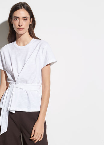 Short Sleeve Cotton Wrap Tee in Optic White