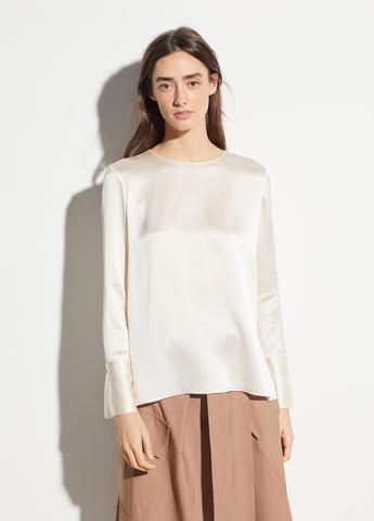 Crew Neck Silk Blouse in Chiffon