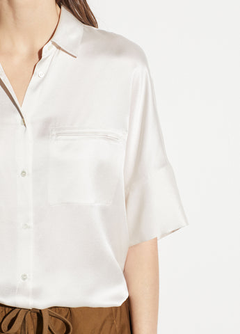 Short Sleeve Silk Blouse in Off White