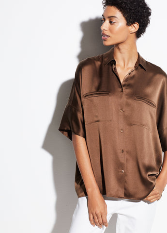 Short Sleeve Silk Blouse in Cottonwood
