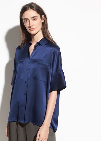 Short Sleeve Silk Blouse in Hydra