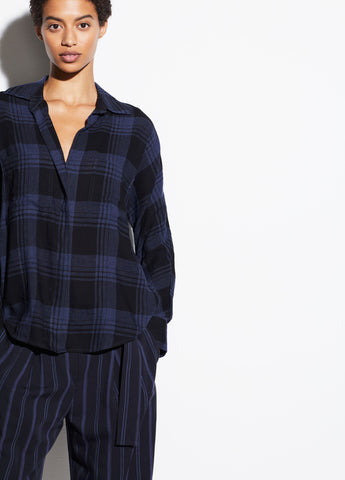 Heathered Plaid Pullover in Black