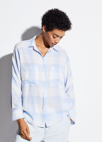 Heathered Plaid Pullover in Off White
