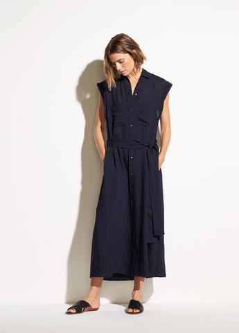 Rolled Sleeve Shirt Dress in Marine