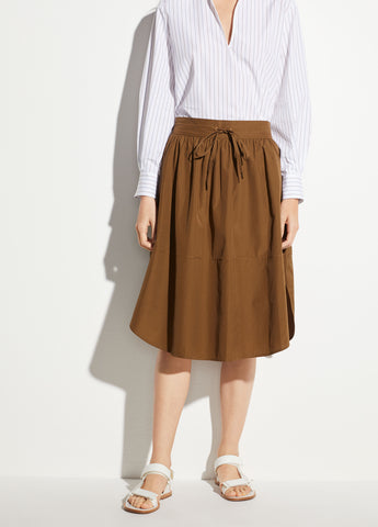 Wide Hem Cotton Skirt in Cottonwood