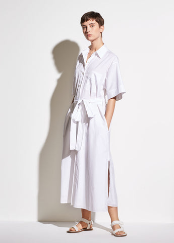 Short Sleeve Utility Shirt Dress in Optic White
