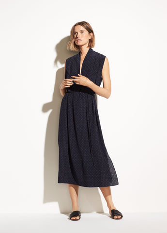 Shadow Dot Sleeveless Drape Neck Dress in Indigo