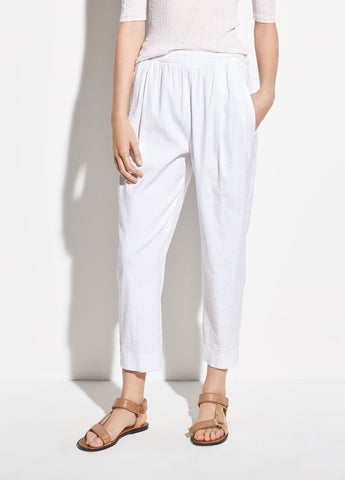 Tapered Pull On Linen Pant in Optic White