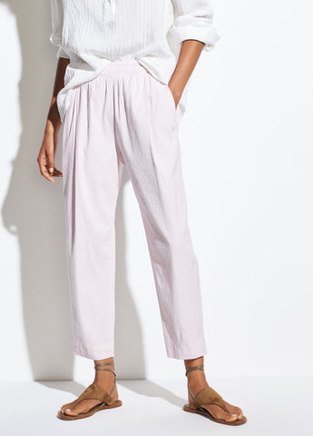 Tapered Pull On Linen Pant in Rosa Seco