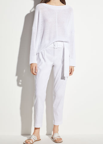 Belted Linen Pant in Optic White