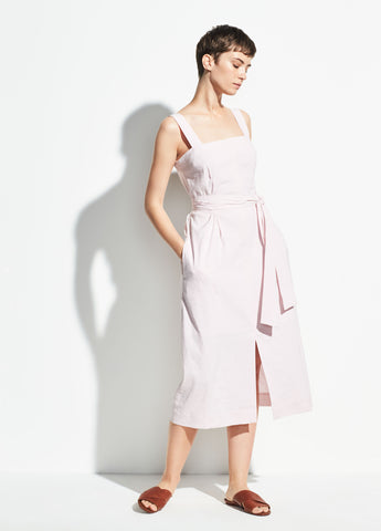 Belted Wide Strap Linen Dress in Rosa Seco