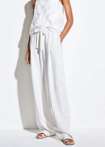 Pencil Stripe Pull On Pant in Creme