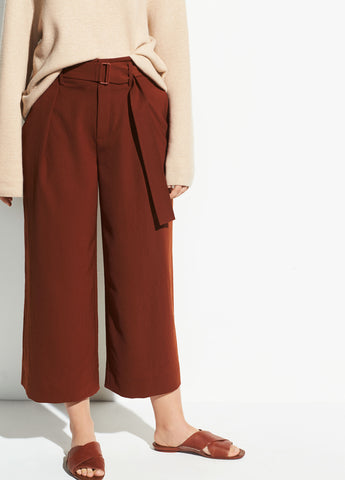 Belted Culotte in Canyon Oak