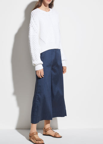 High Rise Linen Culotte in Ink Bay