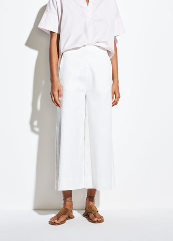High Rise Linen Culotte in Off White