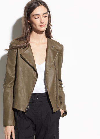 Cross Front Leather Jacket in Olive Wood