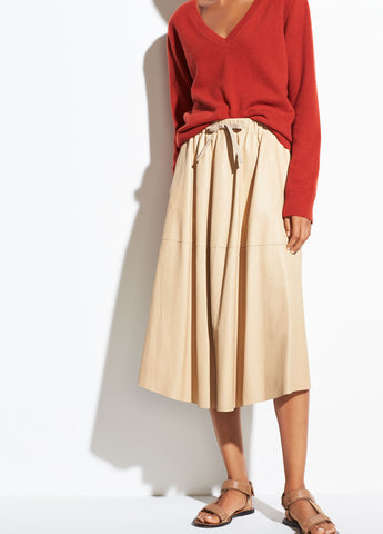 Paneled Leather Skirt in Sand Ember