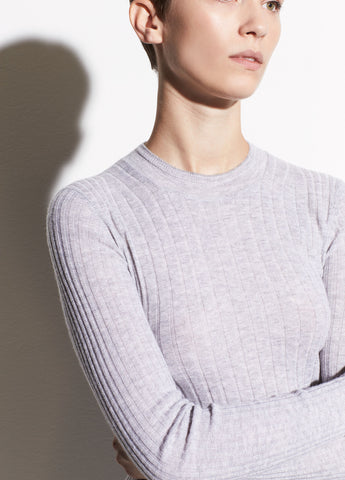Mixed Rib Cashmere Long Sleeve in Heather Steel/Off White