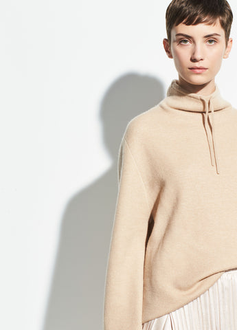 Jacquard Stripe Mock Neck in Latte/Off White