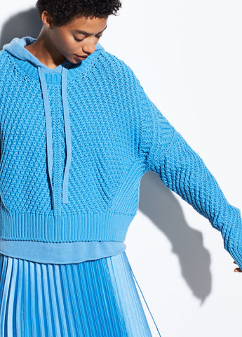 Directional Rib Cotton Pullover in Blue Pumice