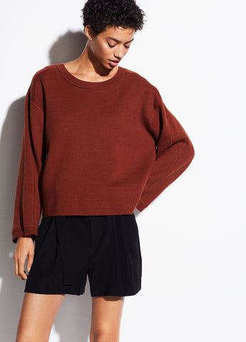Cropped Cotton Crew in Canyon Oak