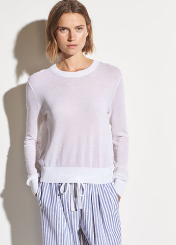 Textured Cotton Long Sleeve in Optic White