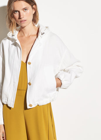 Hooded Cotton Jacket in White
