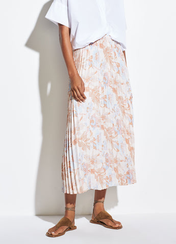Marine Garden Pleated Skirt in Tangerine
