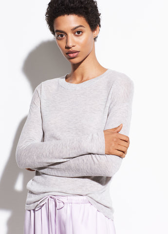 Wool Long Sleeve Sweater Tee in Heather Grey