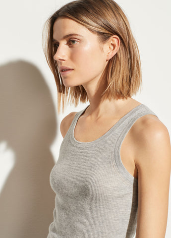 Cashmere Tank in Heather Grey