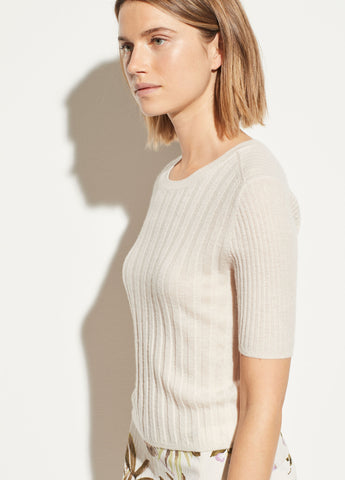 Cashmere Elbow Sleeve Pullover in Chiffon